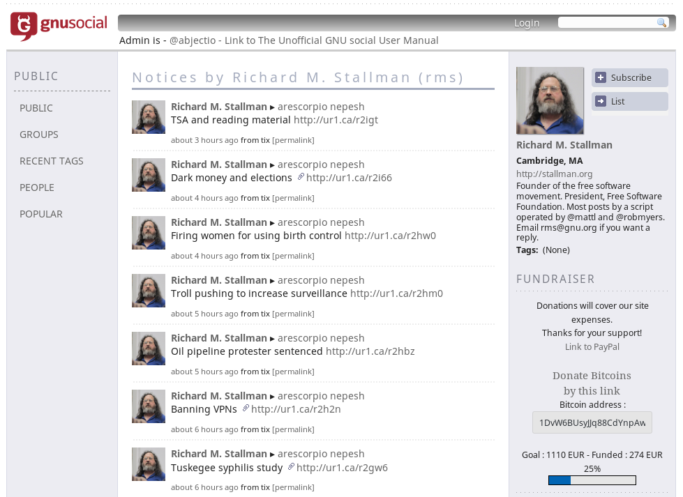Richard Stallman GNU Social Profile